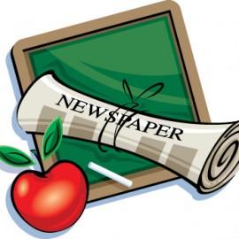 chalkboard and newspaper