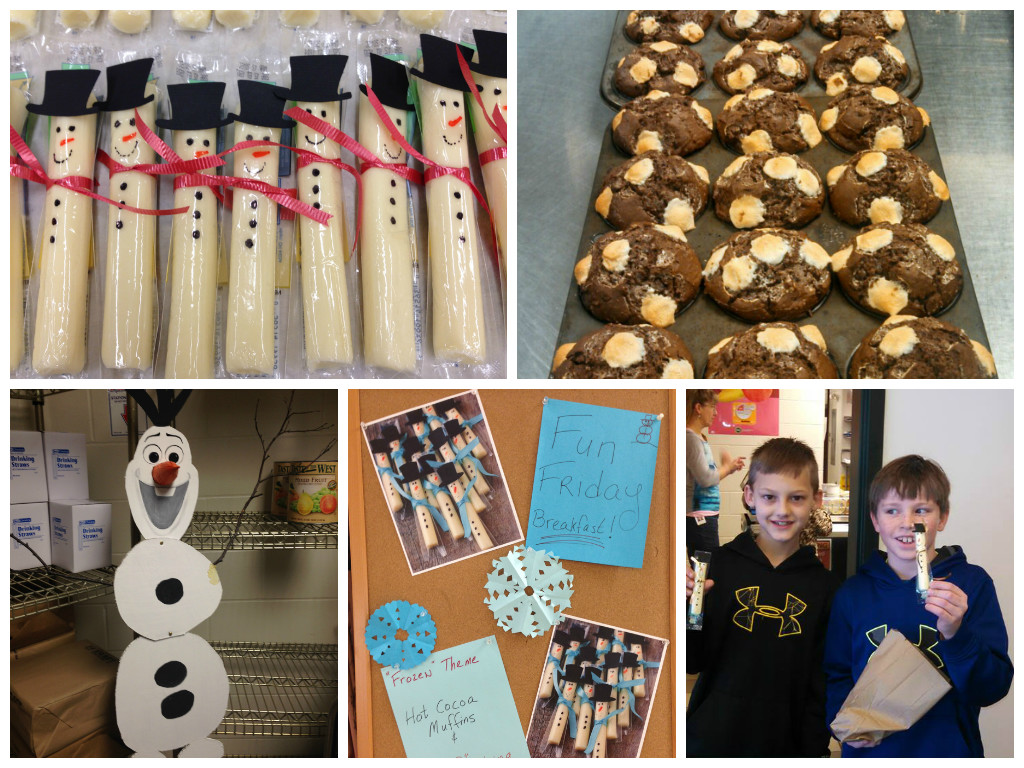 """Fun Friday"" themes add an exciting element for students. For their ""Frozen"" Fun Friday, Windham Raymond served special whole grain Hot Cocoa Muffins. Those cheese stick snowmen are adorable!"